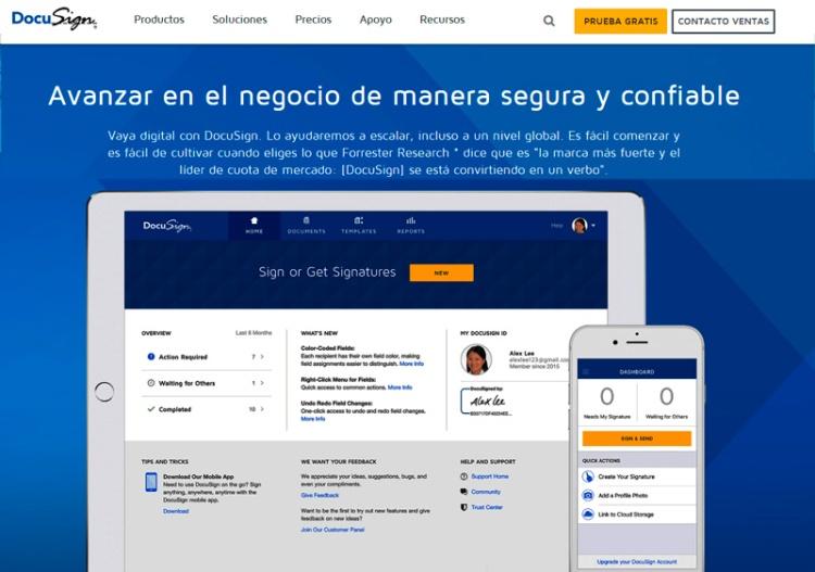DocuSign (Firma un acuerdo de manera rápida y confiable)